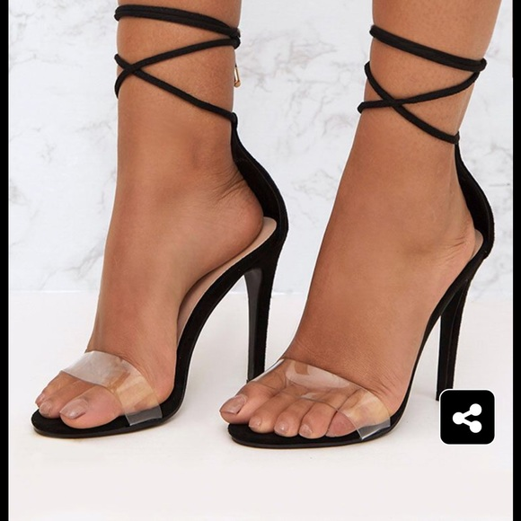 Black Clear Strap Ankle Tie Heels